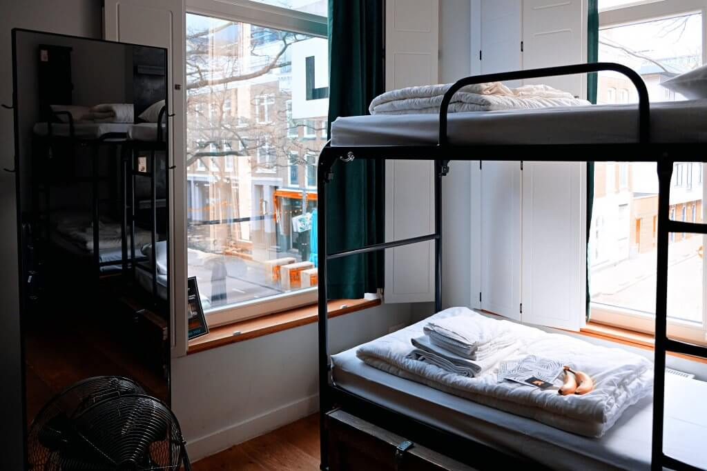 Empty bunk beds in a dorm room in the Netherlands