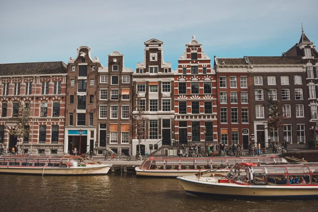 glass topped boats in Amsterdam canal