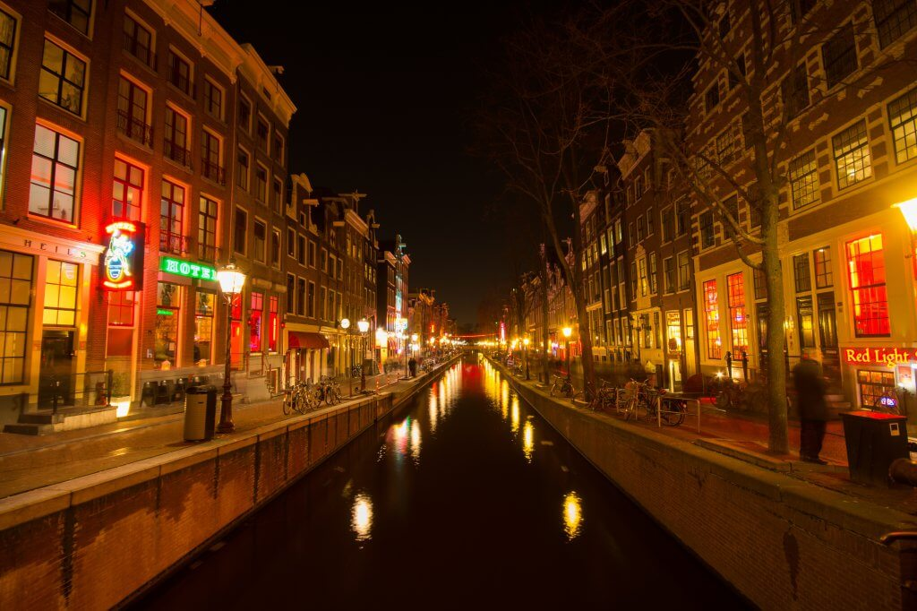 Amsterdam red light district at night