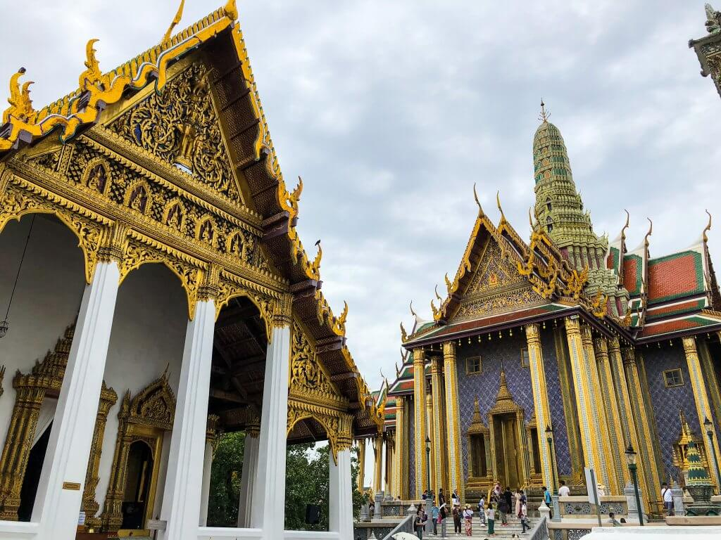 temples at the grand palace complex in bangkok