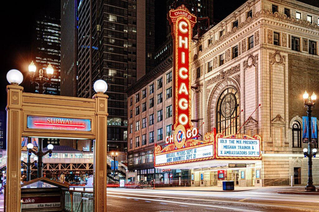 night time shot of the chicago theater