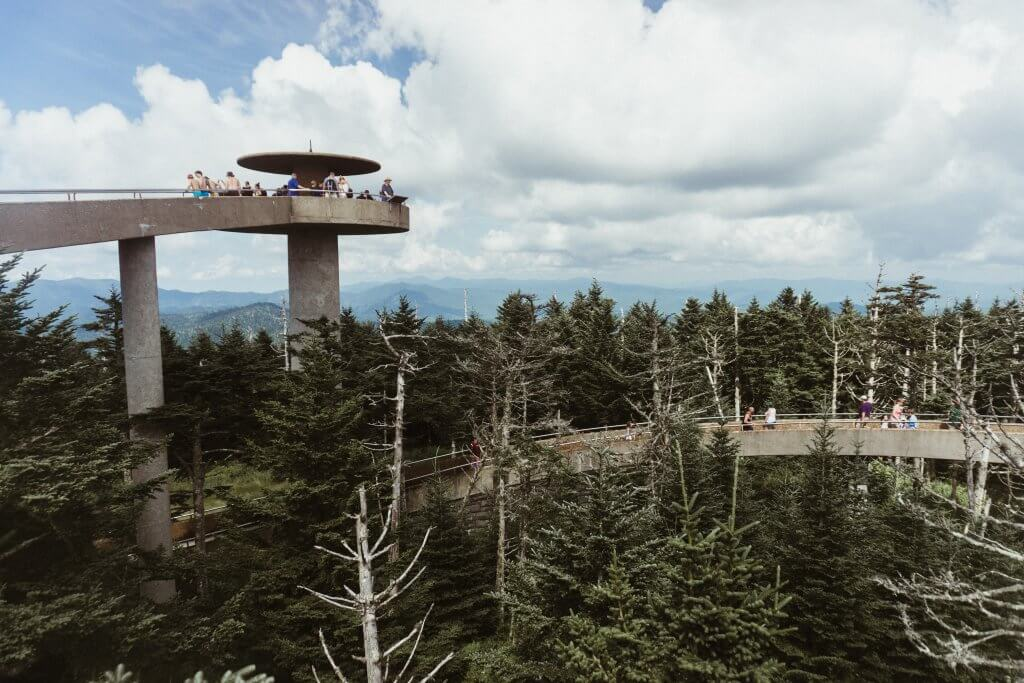 Elevated viewing platform at Clingman's dome in Great Smoky Mountains National Park