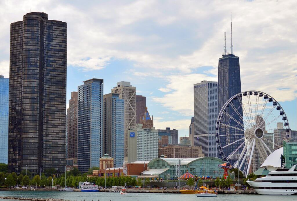 chicago skyline from the water with the navy pier ferris wheel in front of the willis tower