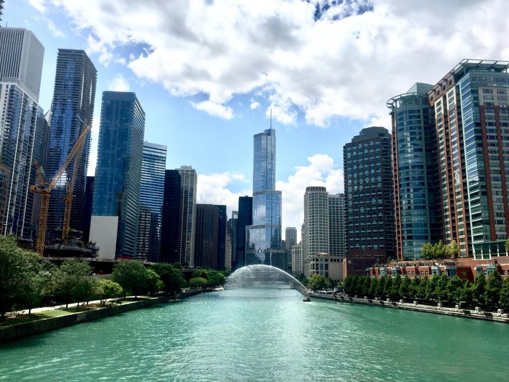 chicago river with blue green water on a sunny summer day