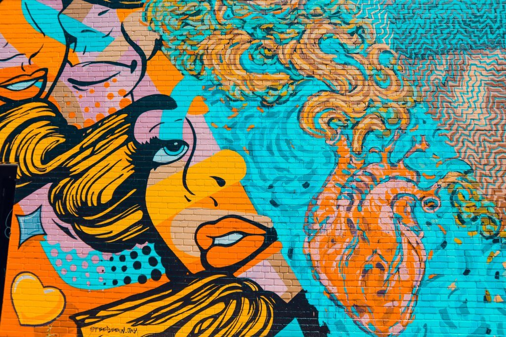 colorful mural of a woman's face in Austin Texas