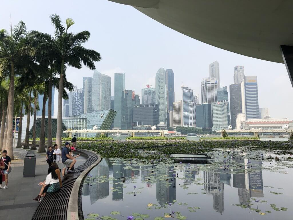people sit along a small pond with the singapore skyline in the background