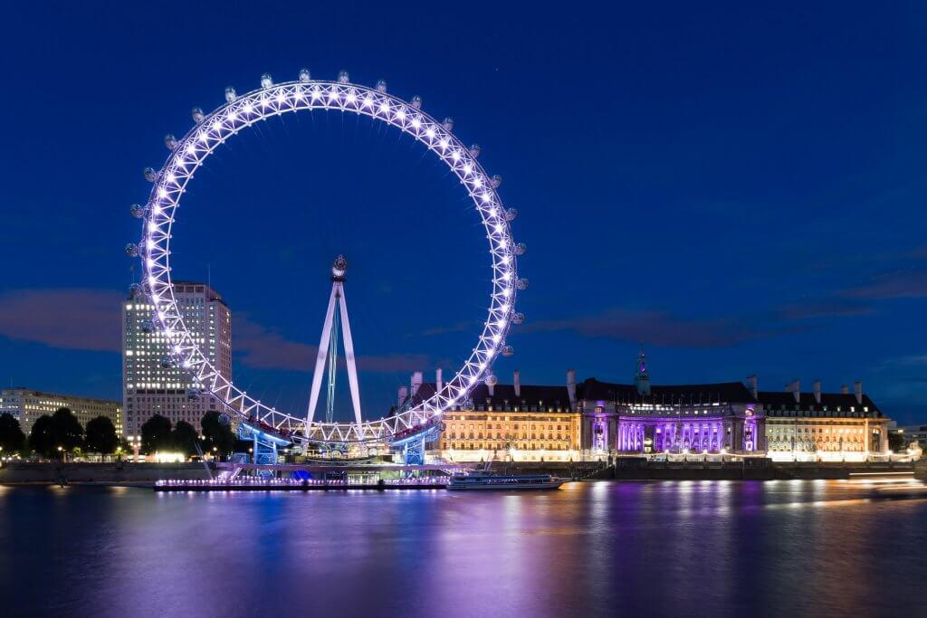 long exposure of the London Eye at night