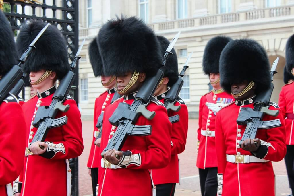 British palace guards with guns during the changing of the guard