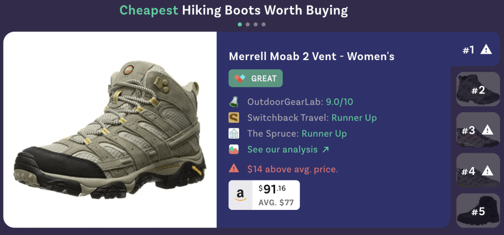 screenshot of lustre chrome extension results for hiking boots