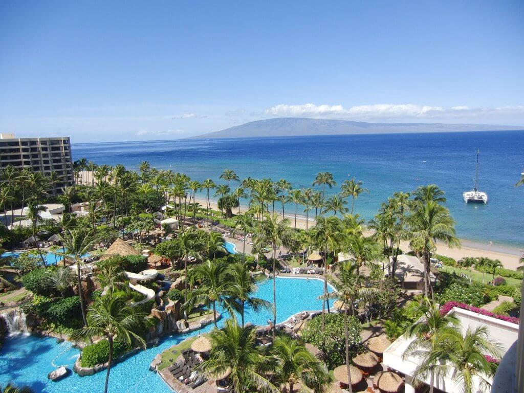 aerial view of a resort in maui