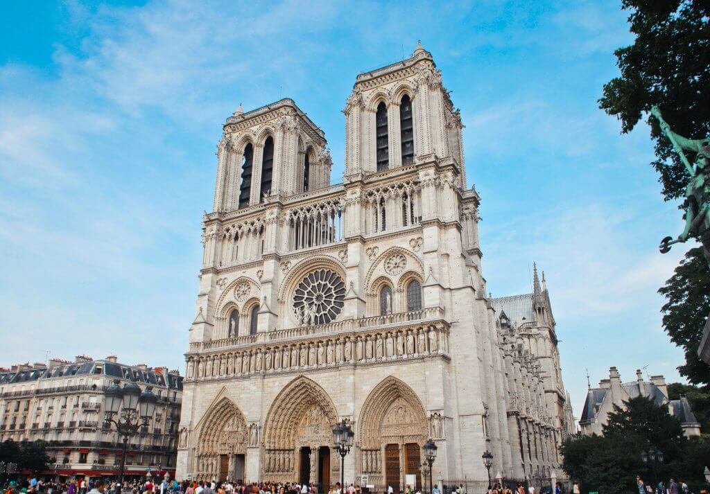 Exterior of Notre Dame cathedral in Paris, France