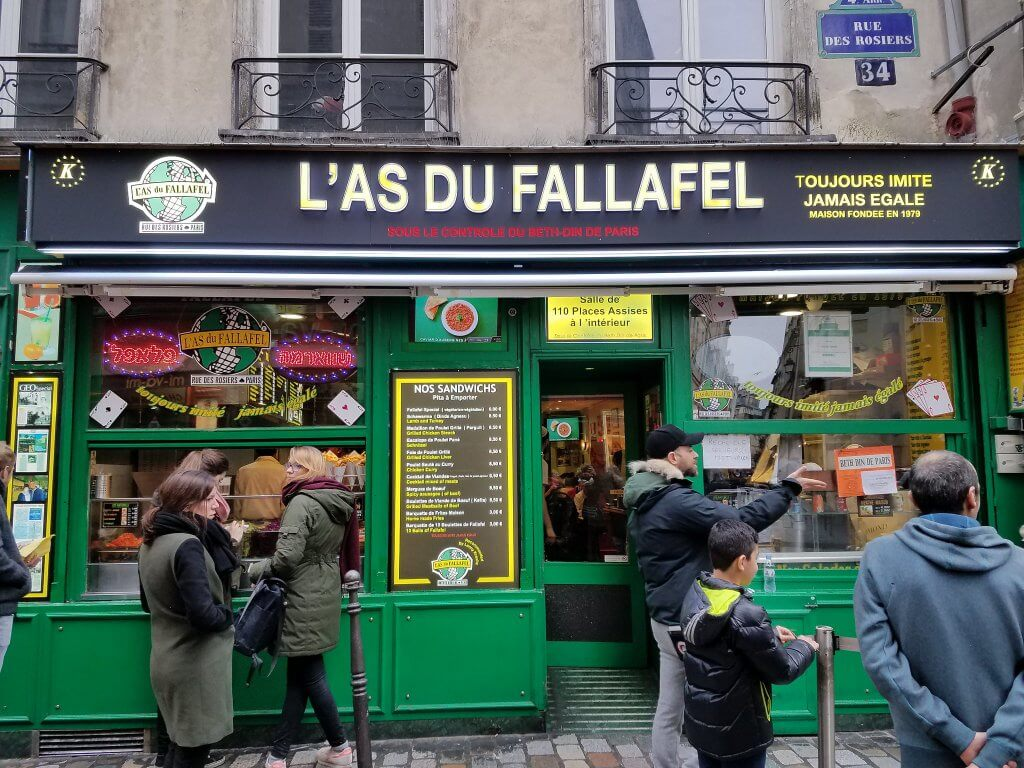 outside of famous L'As du Fallafel restaurant