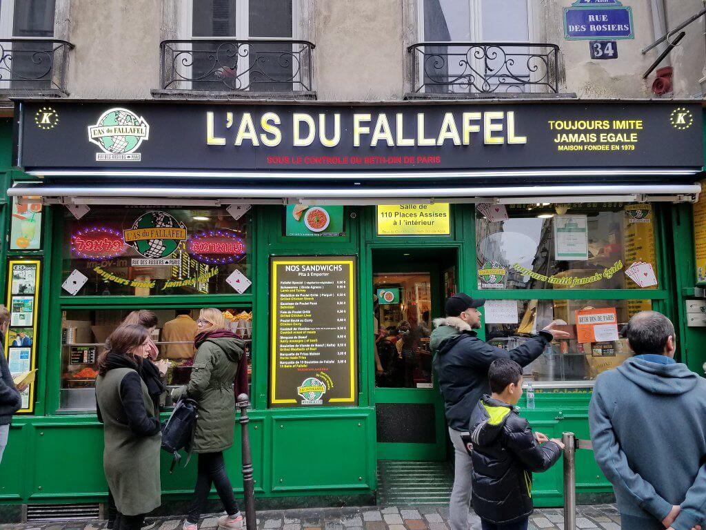 outside of famous L'As du Fallafel restaurant