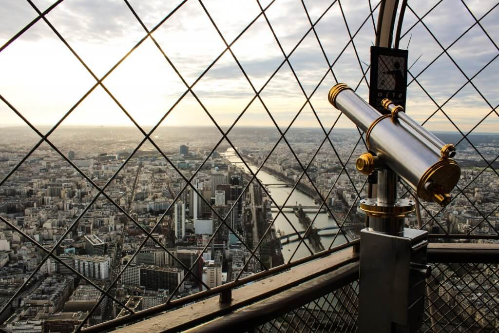 telescope at the top of the Eiffel tower