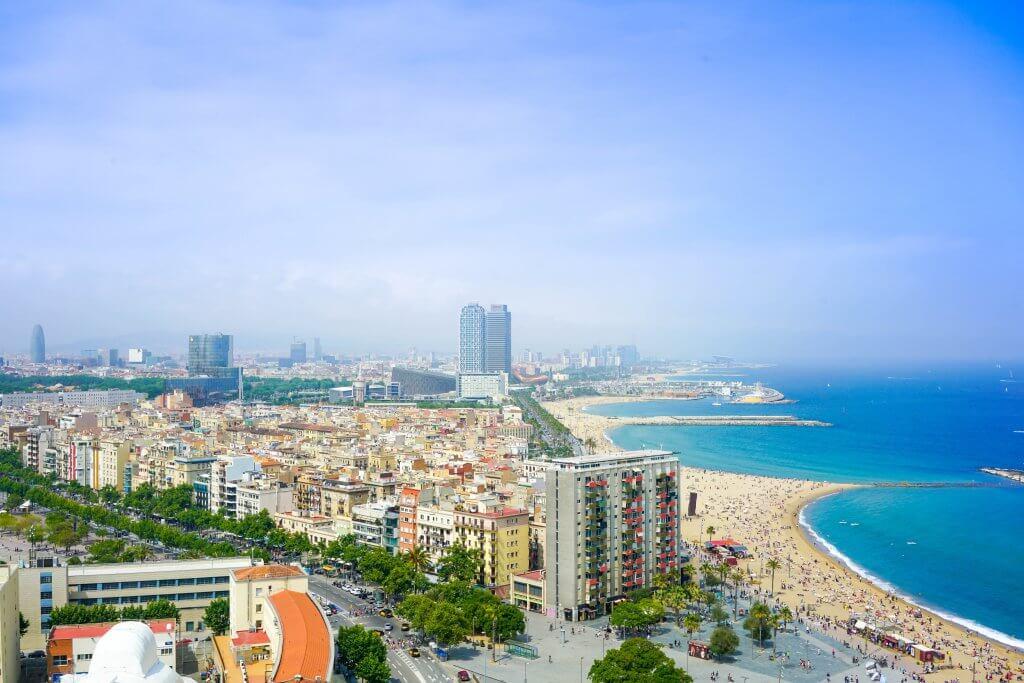 Barcelona shoreline from above