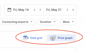 google flights screenshot of Date Grid and Price Graph option