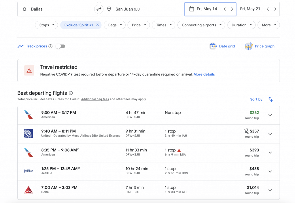 Google Flights results page