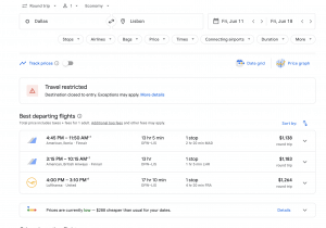 screen shot of google flights search results