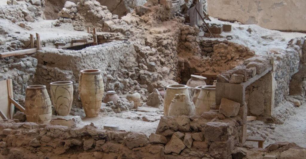 preserved pottery at Akrotiri in Santorini