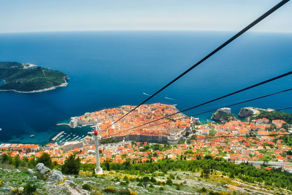 view of the city below from the Dubrovnik cable car