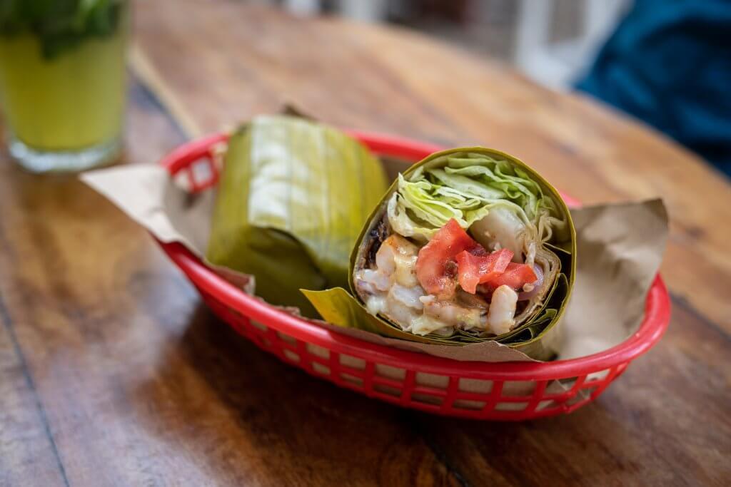 shrimp burrito from Burrito Amor in Tulum