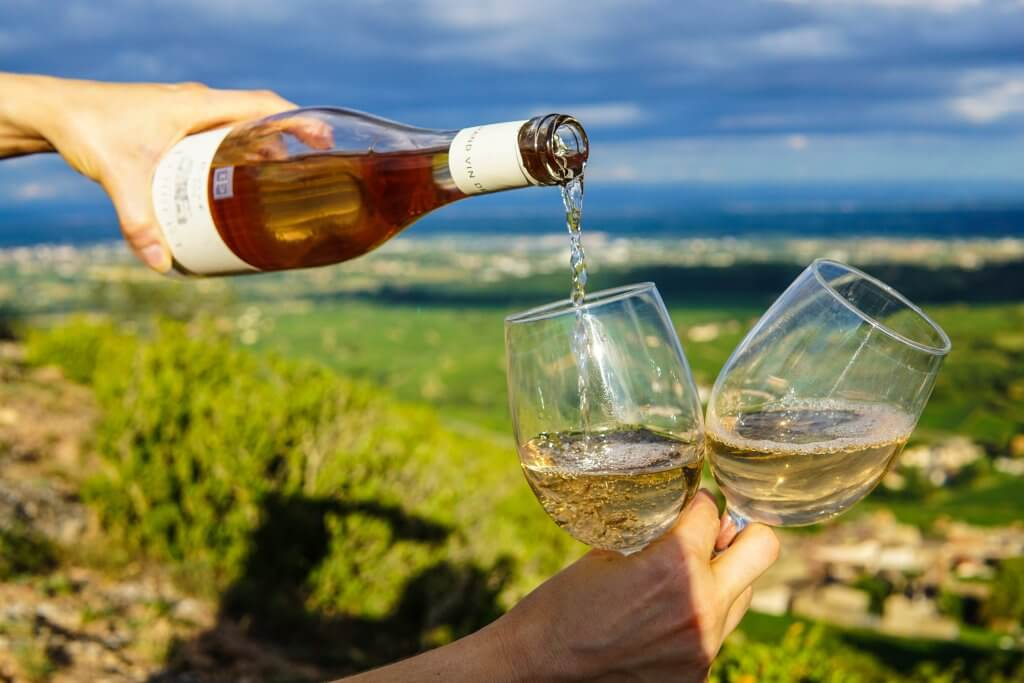 wine being poured into two glasses in the middle of a French vineyard