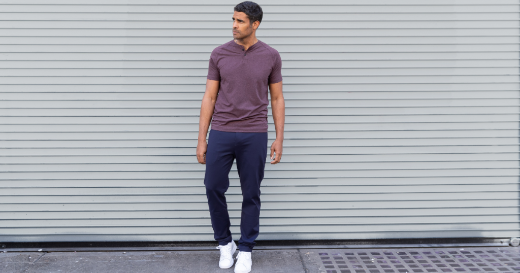 man modeling our best travel pants: the all day every day pant from public rec